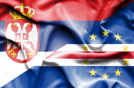 cape verde: Waving flag of Cape Verde and Serbia Stock Photo
