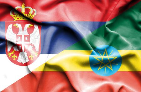 serbia: Waving flag of Ethiopia and Serbia