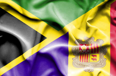andorra: Waving flag of Andorra and Jamaica