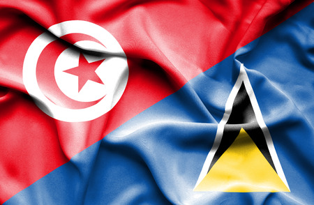 st lucia: Waving flag of St Lucia and Tunisia Stock Photo