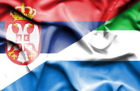 sierra leone: Waving flag of Sierra Leone and Serbia