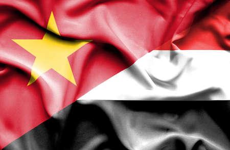 yemen: Waving flag of Yemen and Vietnam