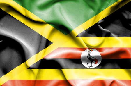 uganda: Waving flag of Uganda and Jamaica