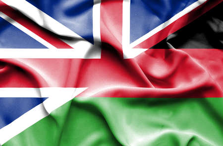 malawian flag: Waving flag of Malawi and Stock Photo