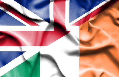 ireland flag: Waving flag of Ireland and