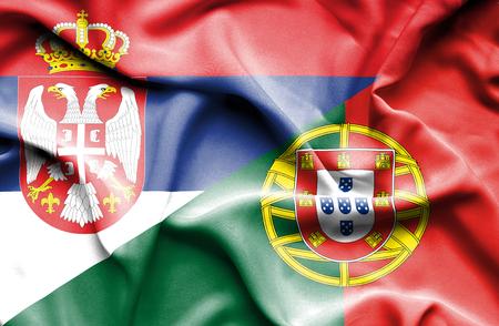 serbia: Waving flag of Portugal and Serbia