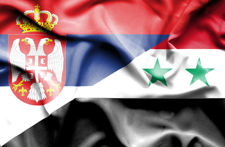serbia: Waving flag of Syria and Serbia