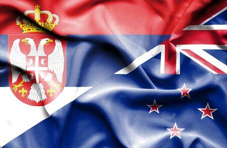 bandera de nueva zelanda: Ondeando la bandera de Nueva Zelanda y Serbia