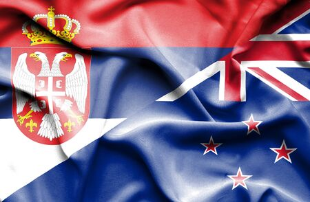 serbia: Waving flag of New Zealand and Serbia