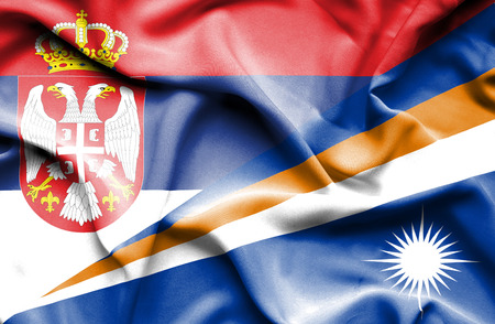 marshall: Waving flag of Marshall Islands and Serbia