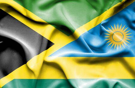 rwanda: Waving flag of Rwanda and Jamaica