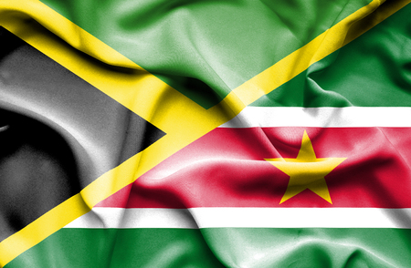 suriname: Waving flag of Suriname and Jamaica