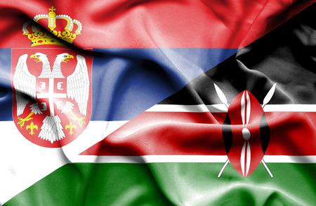 serbia: Waving flag of Kenya and Serbia Stock Photo