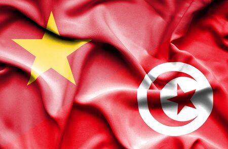 tunisia: Waving flag of Tunisia and Vietnam