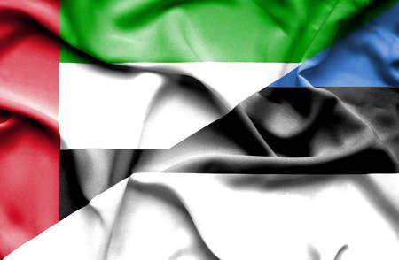 emirates: Waving flag of Estonia and United Arab Emirates Stock Photo