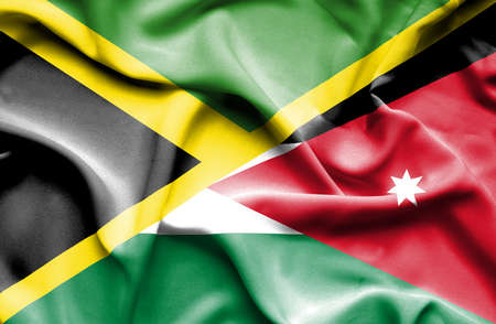 jordan: Waving flag of Jordan and Jamaica