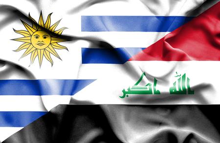 iraq conflict: Waving flag of Iraq and Uruguay