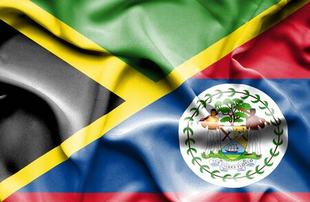 belize: Waving flag of Belize and Jamaica Stock Photo