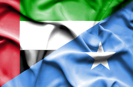 somalian culture: Waving flag of Somalia and United Arab Emirates