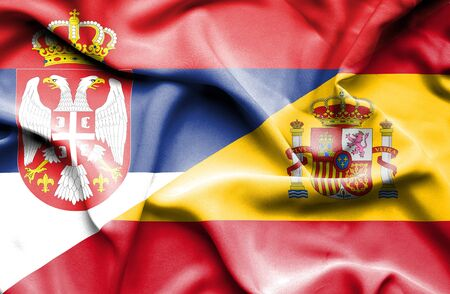 serbia: Waving flag of Spain and Serbia