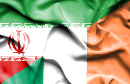 irish history: Waving flag of Ireland and Iran