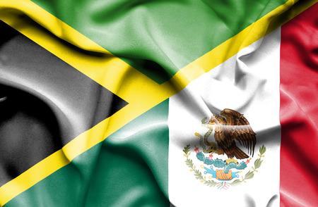 Waving flag of Mexico and Jamaica