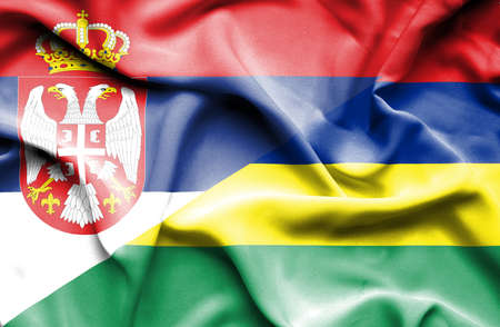 serbia: Waving flag of Mauritius and Serbia
