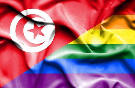 tunisia: Waving flag of Pride and Tunisia