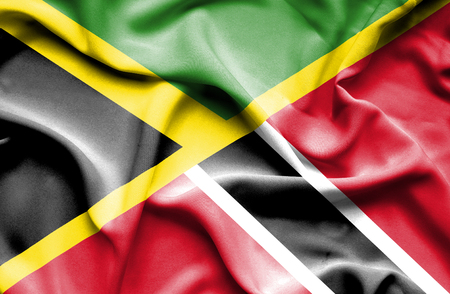 Waving flag of Trinidad and Tobago and Jamaica