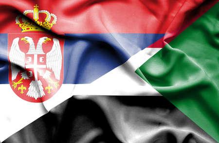 serbia: Waving flag of Sudan and Serbia