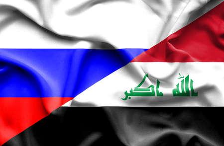 iraq war: Waving flag of Iraq and Russia