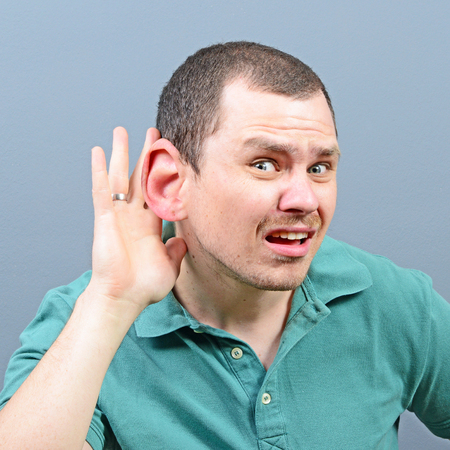 huge: Portrait of man with huge ear listening on private conversation