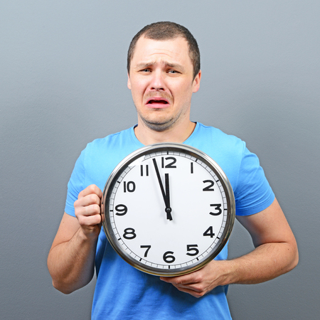 getting late: Portrait of man afraid of getting late concept