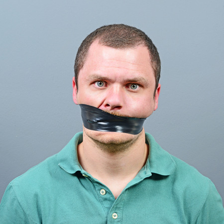 gagged: Kidnapped man with tape over his mouth