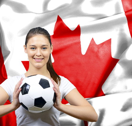 canadian football: Proud woman football fan of Canada