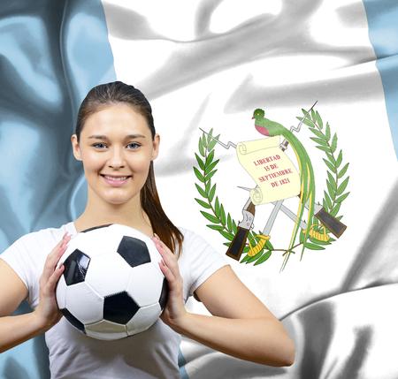 Proud woman football fan of Guatemala