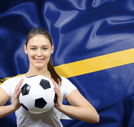 nauru: Proud woman football fan of Nauru Stock Photo