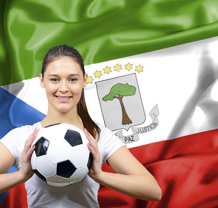 equatorial guinea: Proud woman football fan of Equatorial Guinea Stock Photo