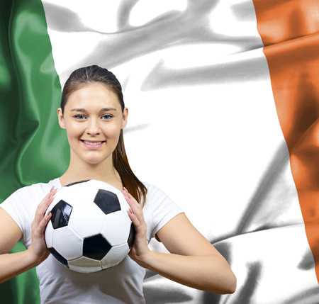 irish woman: Proud woman football fan of Ireland