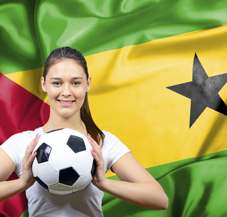 tome: Proud woman football fan of Sao Tome and Principe Stock Photo