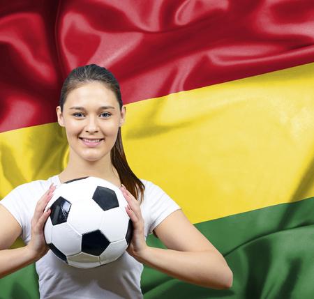 Proud woman football fan of Bolivia