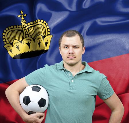 liechtenstein: Proud football fan of Liechtenstein Stock Photo