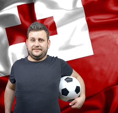 tonga: Proud football fan of Tonga Stock Photo