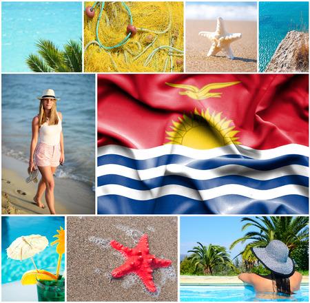 kiribati: Conceptual collage of summer vacation in Kiribati