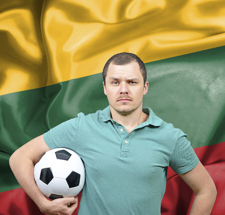 lithuania: Proud football fan of Lithuania Stock Photo