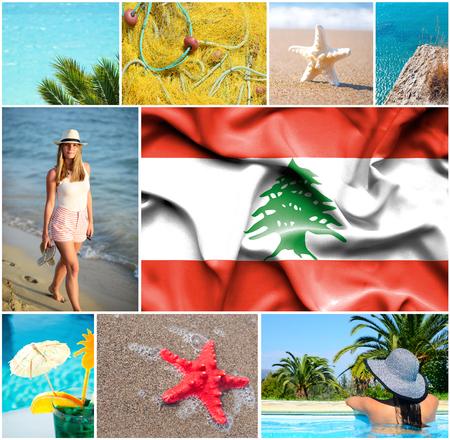 lebanon beach: Conceptual collage of summer vacation in Lebanon