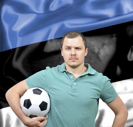 proud: Proud football fan of Estonia Stock Photo