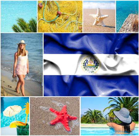 bandera de el salvador: Conceptual collage of summer vacation in El Salvador