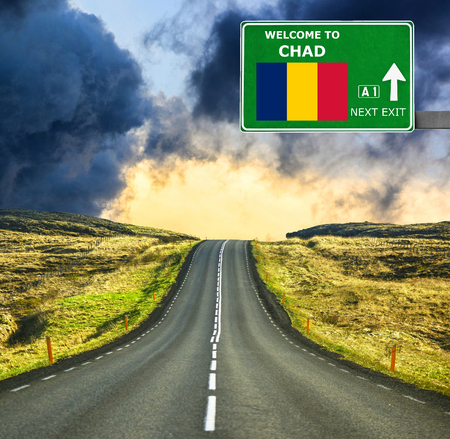chad: Chad road sign against clear blue sky