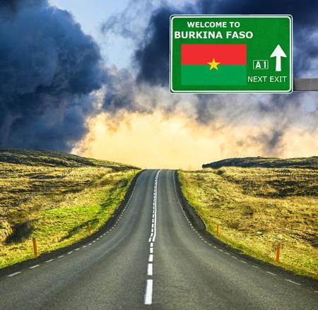 burkina faso: Burkina Faso road sign against clear blue sky